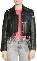 Maje Bicoeur Embroidered Leather Jacket