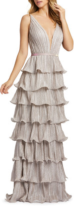 Mac Duggal Sparkle Ruffle Tiered Sleeveless Gown