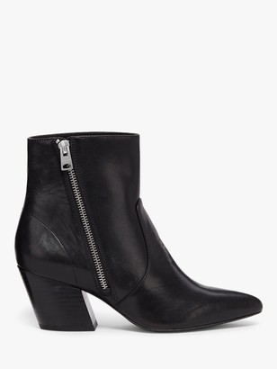 AllSaints Aster Leather Western Pointed Toe Heeled Boots, Black