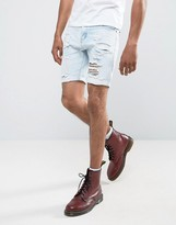 Liquor N Poker Abrasions Bleached Blue Denim Shorts