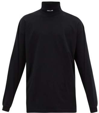 Vetements Collar-embroidered Roll-neck Cotton Top - Mens - Black