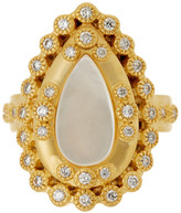 Freida Rothman 14K Gold Plated Sterling Silver CZ Mother of Pearl Framed Ring - Size 6