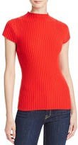 Aqua Cashmere Ribbed Mock Neck Cashmere Sweater