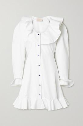 Christopher Kane Ruffled Cotton-poplin Mini Dress - White