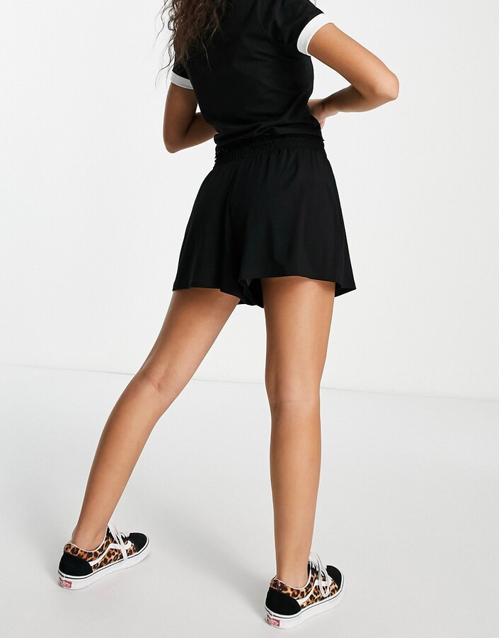 Thumbnail for your product : ASOS DESIGN Petite shirred waist short in black