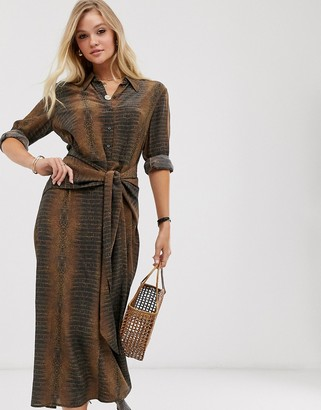And other stories & waist knot long sleeves midi dress in croc print