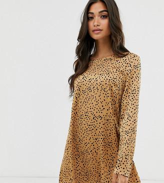Glamorous Petite long sleeve swing dress in spot print-Tan