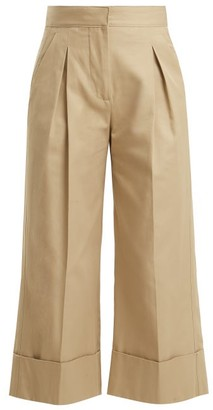 BEIGE Summa - Pleated-detailed Cotton Trousers - Womens