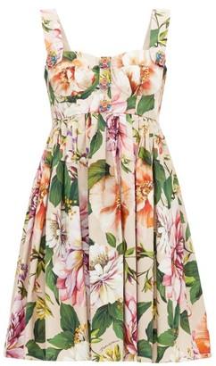 Dolce & Gabbana Pleated Floral-print Cotton Mini Dress - Pink Print