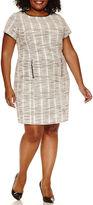 SHARAGANO Sharagano Short Sleeve Sheath Dress-Plus