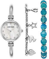 Anne Klein Women's Silvertone Watch and Bracelet Set