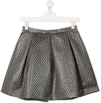 Il Gufo TEEN geometric pattern box-pleat skirt