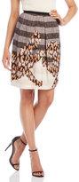Alysi Striped Animal Print Skirt