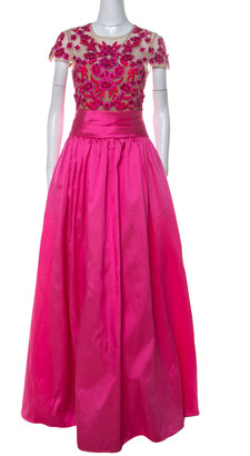 Marchesa Pink Floral Embroidered Tulle Mikado Cap Sleeve Gown M