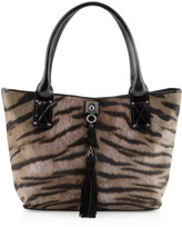 Moschino Tiger-Print Tassel Tote, Brown