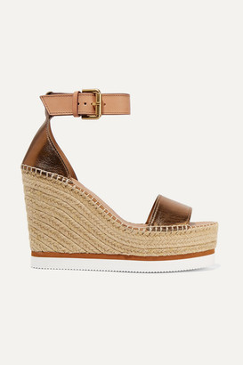 See by Chloe Metallic Leather Espadrille Wedge Sandals - Copper