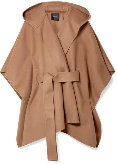 Theory New Divide Belted Hooded Wool And Cashmere-blend Poncho - Camel