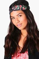 boohoo Floral Embroidered Denim Turban Headband