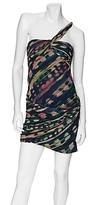 Vera Wang Lavendar Label Exclusive Draped Watercolor Chiffon Dress