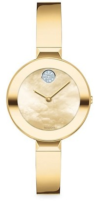 Movado Bold Yellow Gold Ion-Plated Stainless Steel Bangle Watch