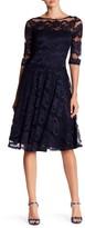 Sangria Crew Neck Mesh Lace Dress