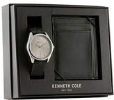 Kenneth Cole Leather and Stainless Steel Watch and Wallet Gift Set