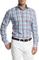 Peter Millar Tuscan Plaid Long-Sleeve Sport Shirt, Blue