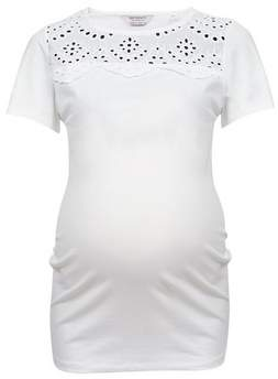 Dorothy Perkins Womens **Maternity Ivory Broderie Yoke Cotton Blend Top