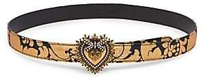 Dolce & Gabbana Women's Devotion Heart Floral-Print Belt