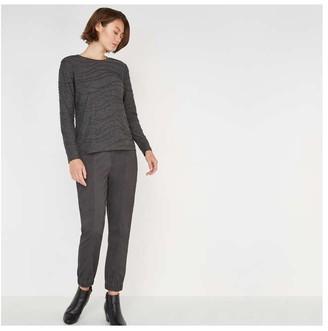 Joe Fresh Women's Long Sleeve Texture Tee, Charcoal (Size M)