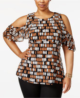 Alfani Plus Size Cold-Shoulder Peplum Top, Only at Macy's