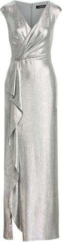 Ralph Lauren Ruffle-Trim Metallic Gown