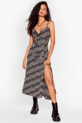 Nasty Gal Womens Cami Here for Love Leopard Midi Dress - Black - 6