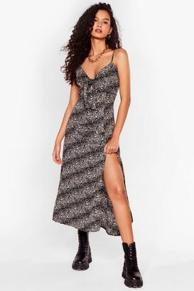 Nasty Gal Womens Cami Here for Love Leopard Midi Dress - Black - 8, Black