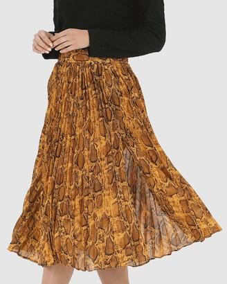 Privilege Pleated Split Skirt