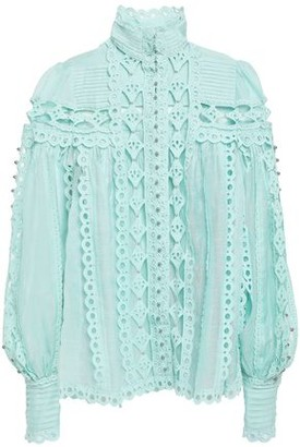 Zimmermann Silk Crepe De Chine-paneled Broderie Anglaise And Cotton-gauze Blouse