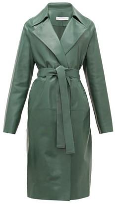 Inès & Marèchal Gustave Notch-lapel Belted Leather Coat - Dark Green