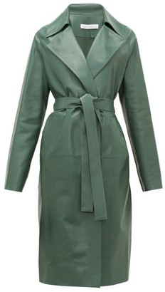 Inès & Marèchal Gustave Notch-lapel Belted Leather Coat - Womens - Dark Green