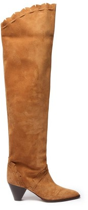 Isabel Marant Luiz Cone-heel Suede Over-the-knee Boots - Womens - Tan