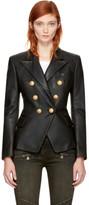 Balmain Black Leather Six-button Blazer
