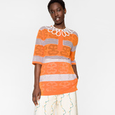 Paul Smith Women's Orange And Violet Striped Top With Lattice Collar