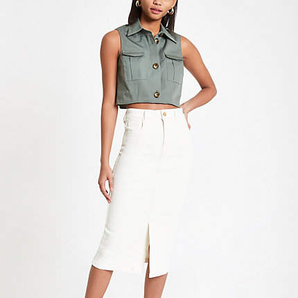 River Island Cream midi denim skirt