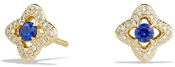 David Yurman Venetian Quatrefoil Earrings with Blue Sapphires and Diamonds in 18K Gold
