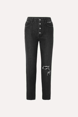 Stella McCartney + Net Sustain Distressed Organic High-rise Straight-leg Jeans - Black