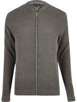 River Island MensGrey textured knit bomber jacket