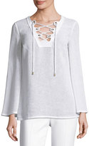 Michael Kors Grommet Lace-Up Linen Tunic, Optic White