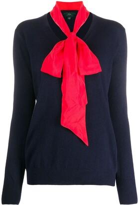 Jejia neck-tie V-neck jumper