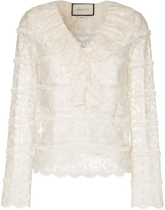 Gucci Ruffle-Detailing Floral-Lace Blouse