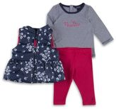 Nautica 3-Piece Floral Peplum Vest, Tee and Leggings in Navy