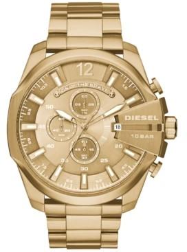 Diesel Men's Chronograph Mega Chief Gold-Tone Stainless Steel Bracelet Watch 59x51mm